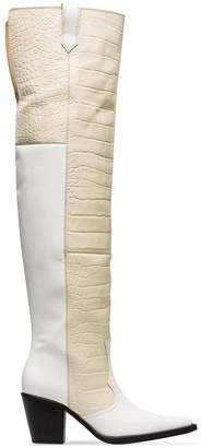 Ganni white Nadine 70 leather thigh high boots