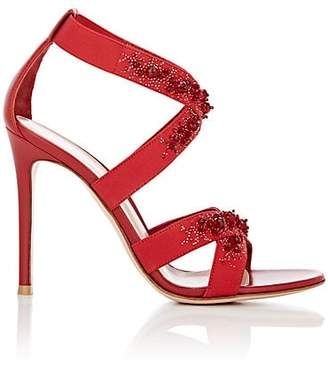 Gianvito Rossi Women's Leather & Elastic Crisscross-Strap Sandals - Wine