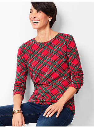 Talbots Cotton Crewneck Tee - Tartan Plaid