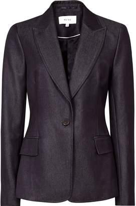 Reiss Rowan - Tailored Denim Blazer in Navy