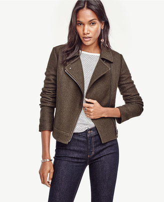 Notched Wool Blend Moto Jacket $179 thestylecure.com