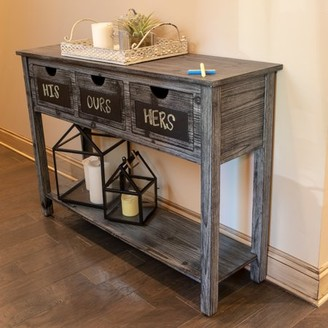 Decor Therapy Rowan 3-Drawer Weathered Chalkboard Console Table