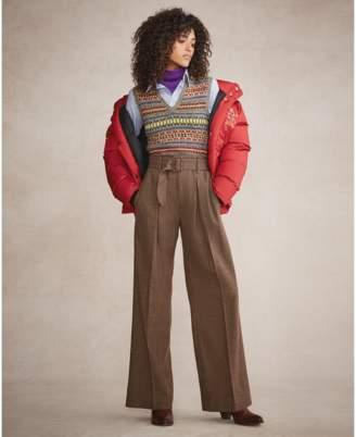 Polo Ralph Lauren Buckled Tweed Wide-Leg Pant