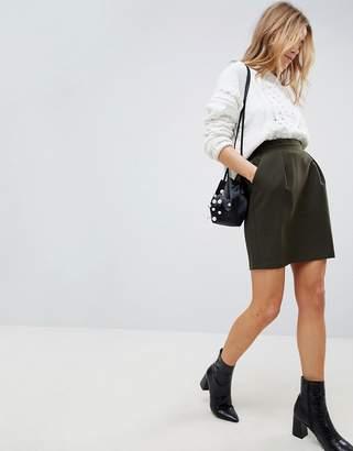 Asos DESIGN Tailored Ruffle Paperbag Waist A-Line Mini Skirt