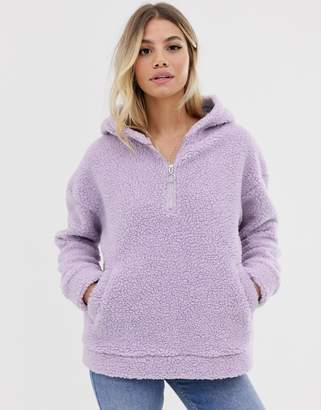 Daisy Street oversized half zip hoodie in borg