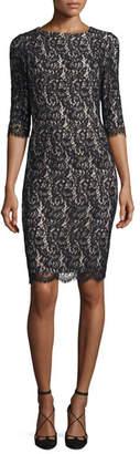 Carolina Herrera Half-Sleeve Lace Sheath Dress, Black