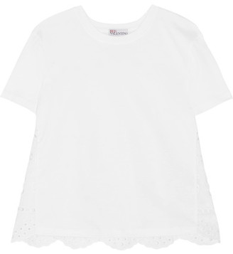 REDValentino - Cotton-jersey And Broderie Anglaise T-shirt - White $450 thestylecure.com