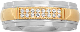 MODERN BRIDE 1/10 CT. T.W. Diamond Mens Two-Tone Stainless Steel Wedding Band