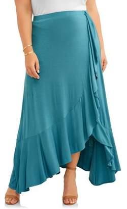 Concepts Women's Plus Ruffle Flounce Wrap Maxi Skirt