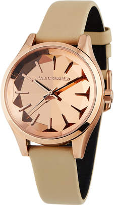 Karl Lagerfeld 36mm Janelle Faceted Watch w/ Leather, Rose/Tan