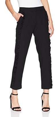 Nicole Miller New York Women's Side Ruffle Tapered Ankle Pant