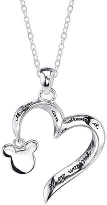 DISNEY Disney Mickey Mouse Sterling Silver Openwork Heart Pendant Necklace $156.23 thestylecure.com