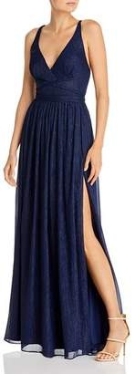 Laundry by Shelli Segal Metallic-Stripe Strappy Gown - 100% Exclusive