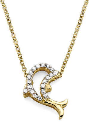 FINE JEWELRY 1/10 CT. T.W. Diamond 10K Yellow Gold Dolphin Pendant Necklace