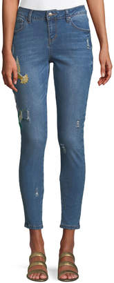 Velvet Heart Hummingbird-Embroidered Skinny Jeans