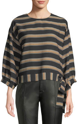 J.o.a. Horizontal-Striped Tie-Hem Blouse