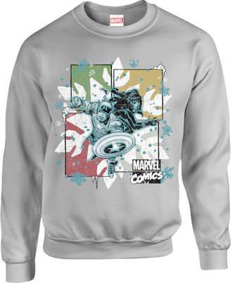 Marvel Comics Black Widow Captain America Grey Christmas Sweatshirt