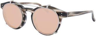 Linda Farrow Round Acetate Sunglasses w/ Clip-On Lenses, White Gold/Horn