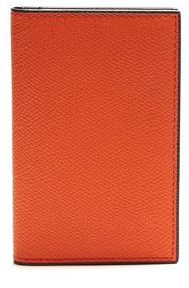 Valextra Bi Fold Leather Cardholder - Mens - Orange