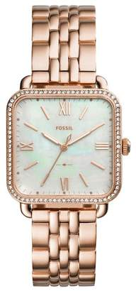 Fossil Women's Micah Crystal Embellished Mother of Pearl Bracelet Watch, 32mm