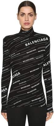 Balenciaga Logo Printed Jersey Turtleneck Top