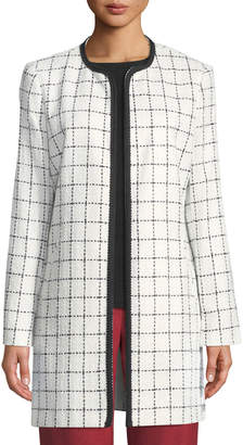 Karl Lagerfeld Paris Long Checkered-Tweed Topper Jacket