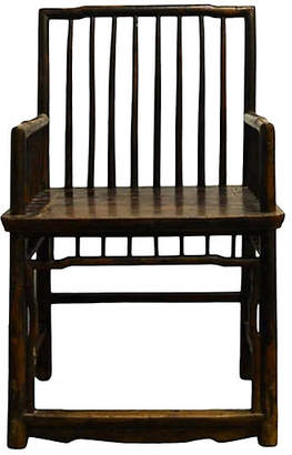 One Kings Lane Vintage Antique Chinese Handmade Elm Wood Chair - FEA Home