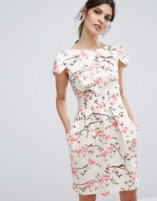 Closet London Cap Sleeve Mini Dress in Cherry Blossom $88 thestylecure.com