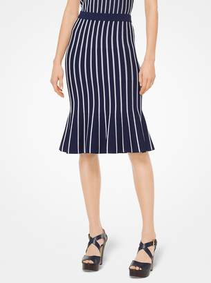 MICHAEL Michael Kors Striped Stretch-Viscose Trumpet Skirt