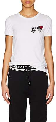 Dolce & Gabbana Women's Emoji-Embroidered Cotton Short-Sleeve T-Shirt