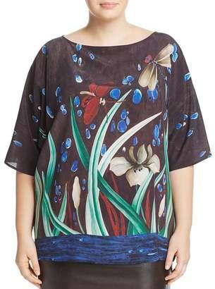 Marina Rinaldi Berenice Printed Silk Crepe de Chine Blouse
