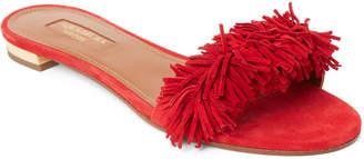 Aquazzura Lipstick Wild Thing Fringe Slide Sandals
