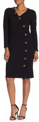Spense Button Trim Textured Midi Dress