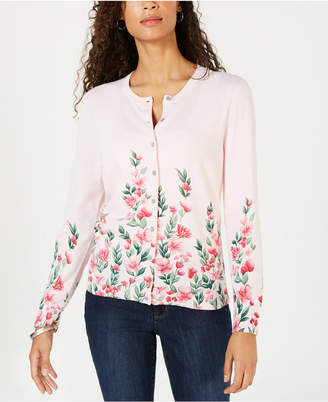 Karen Scott Flower-Print Cardigan Sweater
