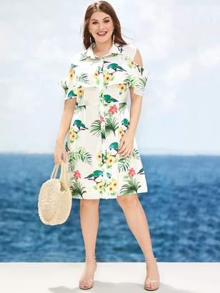 Shein Plus Floral Print Cut Out Shoulder Shirt Dress