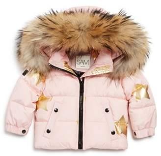 SAM. Girls' Star-Print Fur-Trimmed Down Jacket - Baby