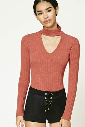 FOREVER 21+ Ribbed Choker Neck Top $17.90 thestylecure.com