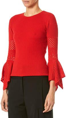 Carolina Herrera 3/4-Sleeve Pointelle-Lace Knit Pullover Sweater
