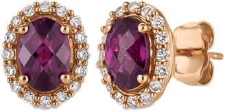 LeVian Le Vian Raspberry Rhodolite Garnet (1-5/8 ct. t.w.) and Diamond (1/4 ct. t.w.) Stud Earrings in 14k Rose Gold