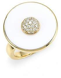 Maria Canale Women's Pyramide 18K Yellow Gold, Diamond & White Agate Disc Ring