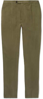 P. Johnson Linen And Silk-Blend Twill Drawstring Trousers