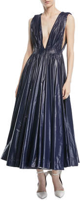 Calvin Klein Deep-V Sleeveless Pleated Tent Dress
