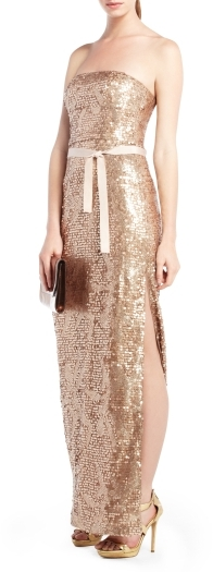 Lela Sequined Strapless Evening Dress