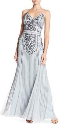 Marina Beaded V-Neck Gown