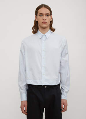 Raf Simons Checked Two Pleat Cropped Shirt in Blue
