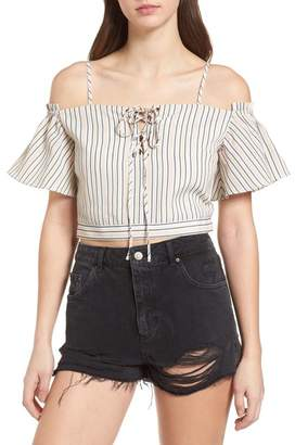 J.o.a. Off the Shoulder Crop Top