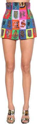 Versace High Waist Print Stretch Cotton Shorts