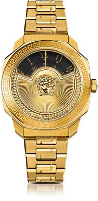Versace Dylos Icon Gold IP Stainless Steel Unisex Watch w/Black Discs and Medusa