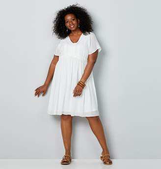 Avenue Plus Size Embroidered Trim Babydoll Dress