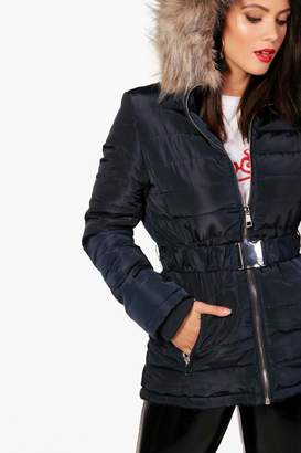 boohoo Tall Quilted Belt Faux Fur Trim Jacket